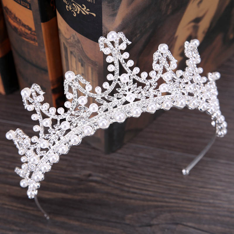 Великолепный кристалл жемчуг свадебная корона женщина диадемы корональных украшения для  ...