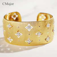 CMajor pure silver jewelry fashion vintage hollow four leaf clover bangles St. Patrick's Day cuff bracelets for women