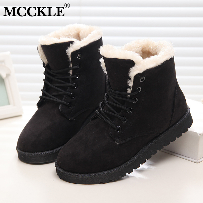 MCCKLE Women Plus Size Casual Warm Fur Plush Snow Boots Female Suede Lace Up Platform Flat Winter Ankle Boots Leisure Shoes ribetrini 2017 fashion cow suede turned over edge ankle snow boots sewing warm fur platform low flat women shoes size 34 39