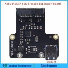 Raspberry Pi 3 Modelo B Tarjeta de Expansión de Almacenamiento SSD mSATA X850 USB 3.0 Tarjeta de Expansión Compatible w/Raspberry Pi 3 Modelo B/2B
