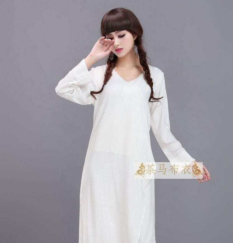 White folk dress Yunnan folk style dress cotton double fake two long sleeved dress color in Sets from Novelty Special Use