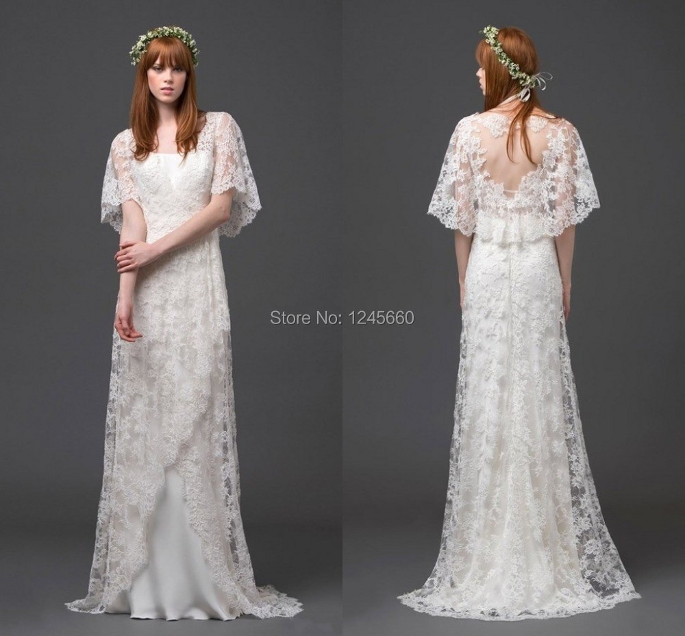2015 Short Sleeve Sheer Elegant Lace Beach Wedding Dresses Sweep Train Goddess Bohemian Chic Spring Bridal Fancy Gowns In From Weddings