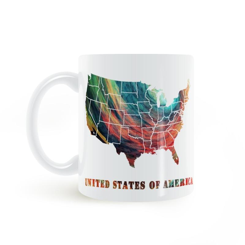 United States of America Map Mug Coffee Milk Ceramic Creative DIY Gifts Home Decor Mugs 11oz T112