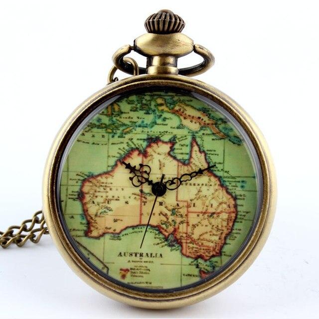 fashion australia map quartz pocket watch necklace pendant mens 86 gift p58
