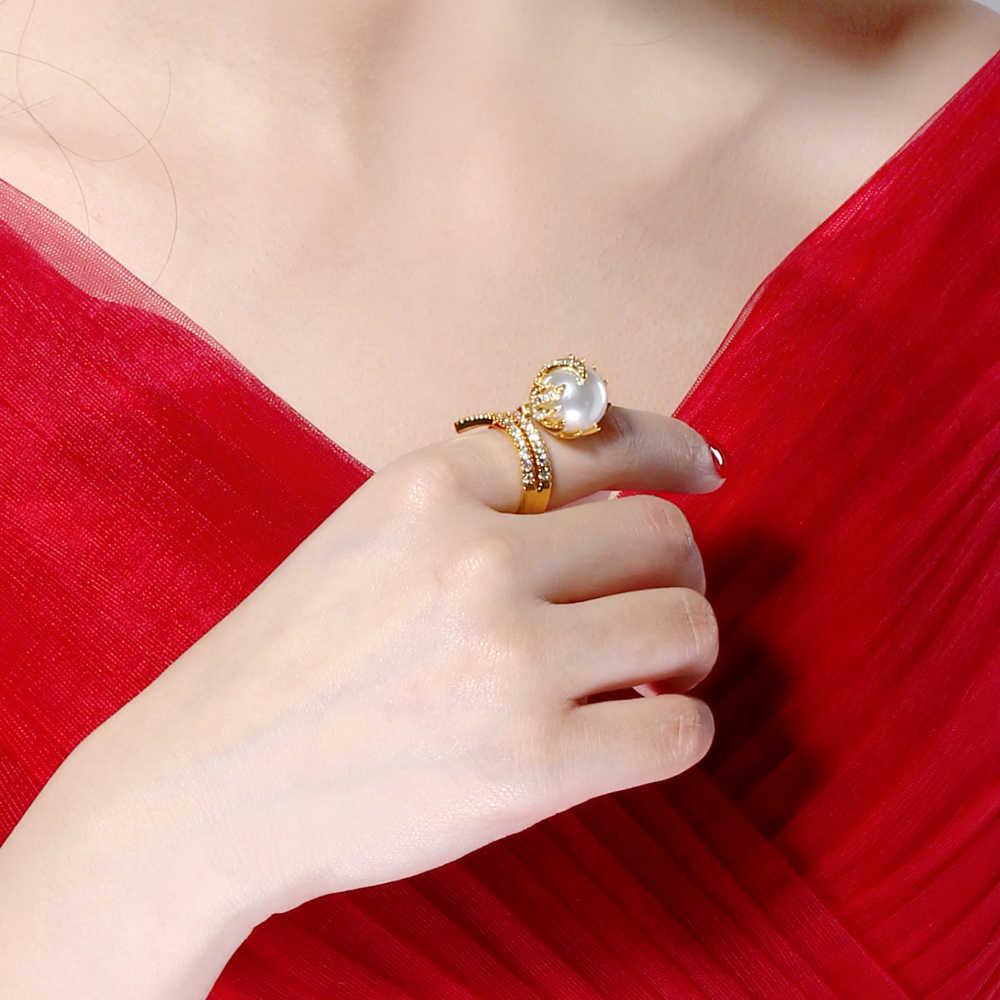 Свадебное кольцо с жемчугом DreamCarnival 1989, подарочное кольцо оригинальной формы с цирконом и покрытием, подарок на годовщину, SJ15435, 2019