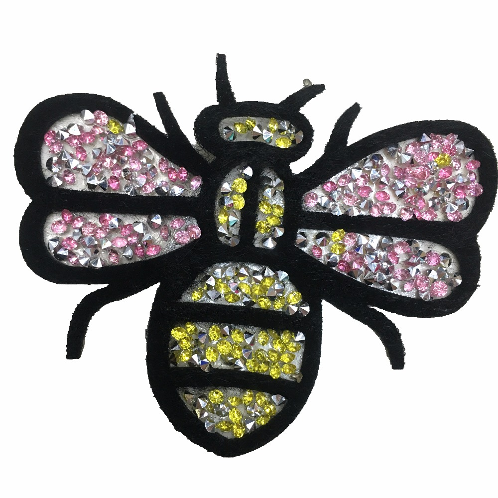 5 Pieces 3D Rhinestones Bug Patches Iron on Beaded Patch for Clothes Hat Scarf DIY Motif Appliques Cloth Patch Hot Melt Stickers