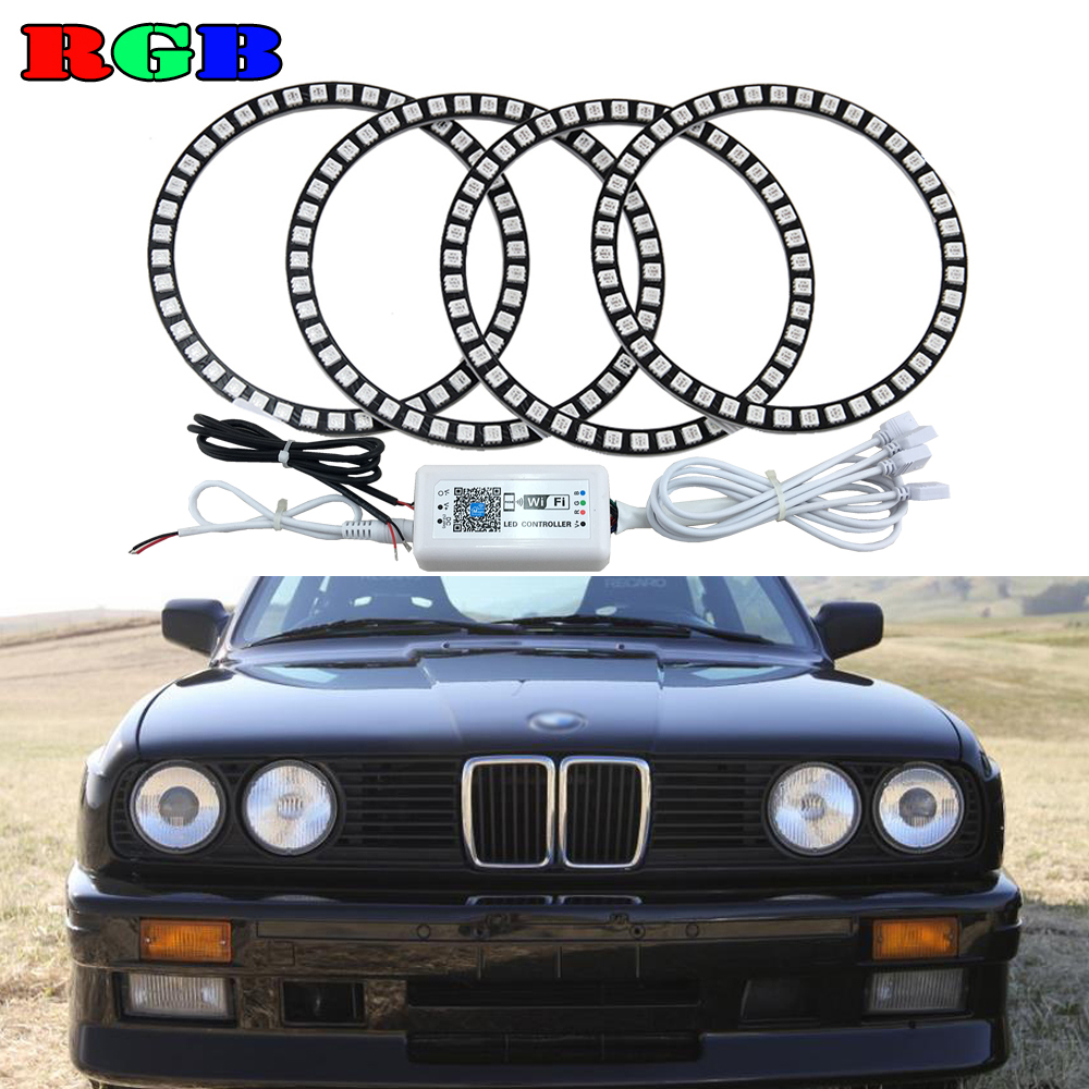 Super Bright for BMW E30 E32 E34 3 5 7 series RGB Color Change Angel Eyes Headlight with 4 led angel rings and Wifi controller electric engine water pump for 5 series e34 7 series e32 1151 0007 042 11510007042