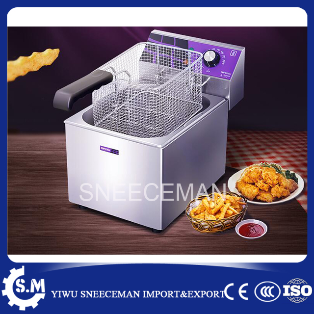 Commercial frying pan fried dough sticks machine fried potato chips deep fryer 12L single-cylinder frying machine square pan rolled fried ice cream making machine snack machinery