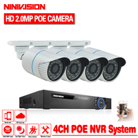 Plug And Play 4CH 1080P NVR Kit HD 2 0MP 1080P Indoor Outdoor IR Night Vision