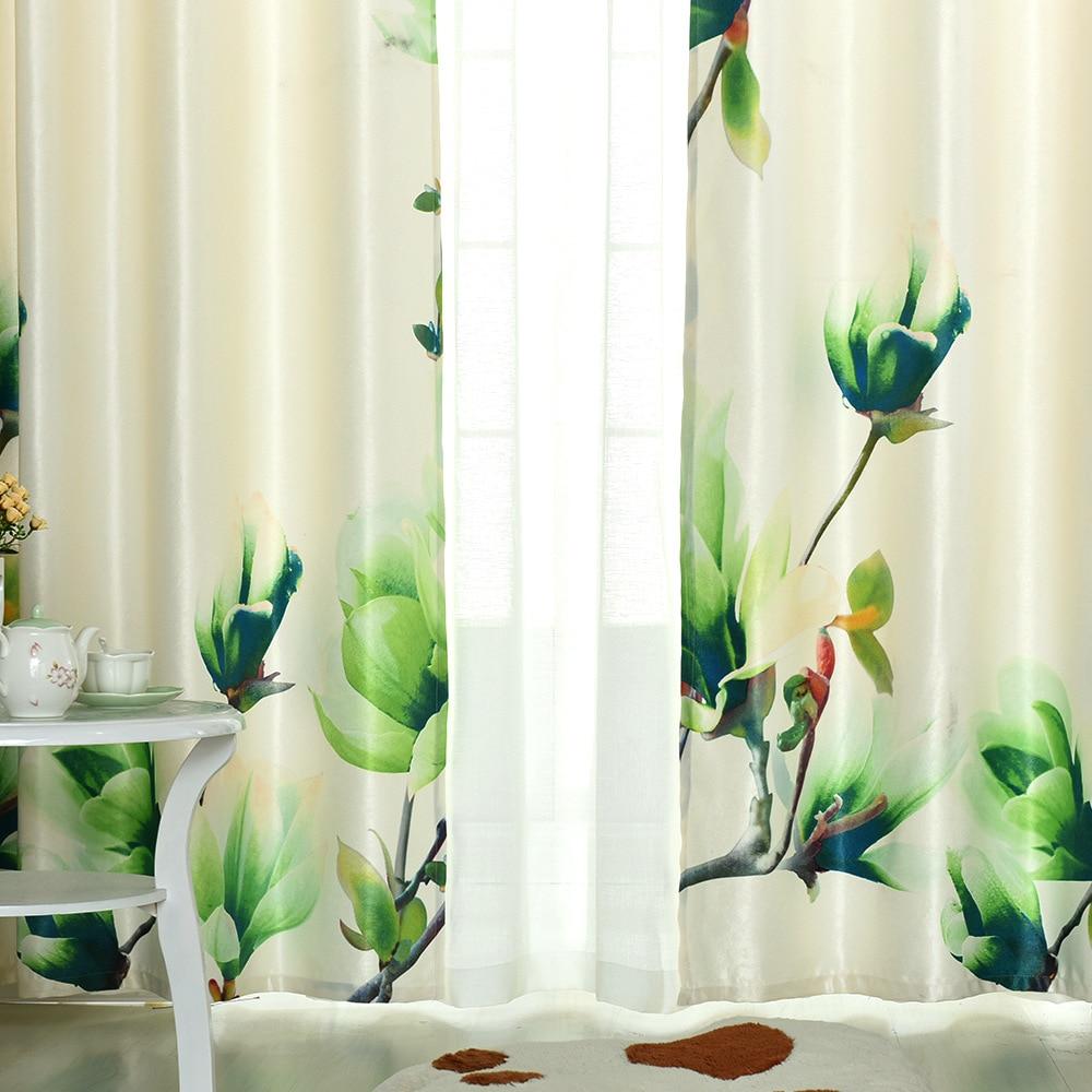 New High-grade Rural 3D Digital Printing Curtains Sitting Room Bedroom Green Shade Curtains