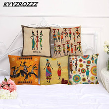 Dancing Woman Cushion Cover African Style Pillow Case Color Cloth Pillow Cover 45X45cm Thin Linen Cotton Bedroom Sofa Decoration