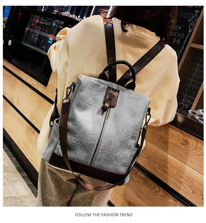 HTB1.j29binrK1Rjy1Xcq6yeDVXaY Fashion Women High Quality Leather Backpack Multifunction Leatherett Backpack For Female Big Bookbag Travel Bag Sac A Dos XA279H