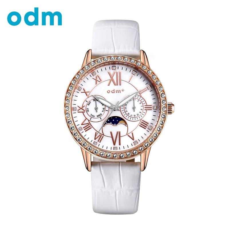 ODM Luxury Brand Women Watch Rhinestone Lot 50M Fashion Casual Leather Wristwatches relogio masculino Moon Phase Quartz 013-05 odm luxury top brand 2016 new fashion and casual leather strap quartz women watch dma042
