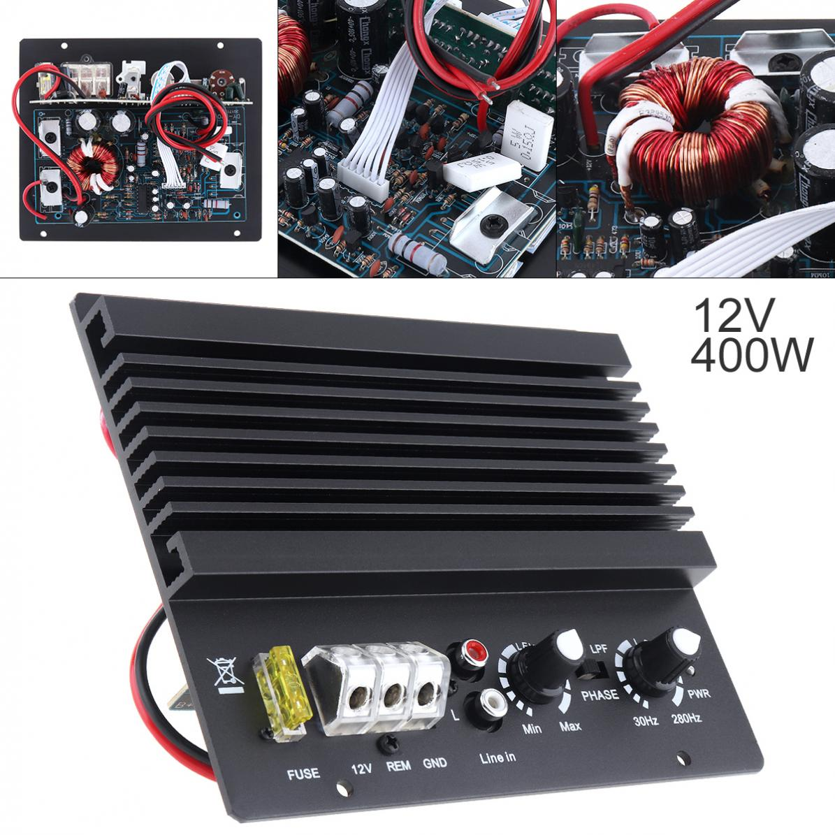 400W High Power Class AB Digital 2 Kanal Schwarz Aluminium Legierung Auto Audio AMP Subwoofer Verstärker