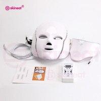 Skineat 7 Color LED Facial Neck Mask Anti Wrinkle Device Acne Removal Beauty Spa Device Skin Rejuvenation White Face Masker