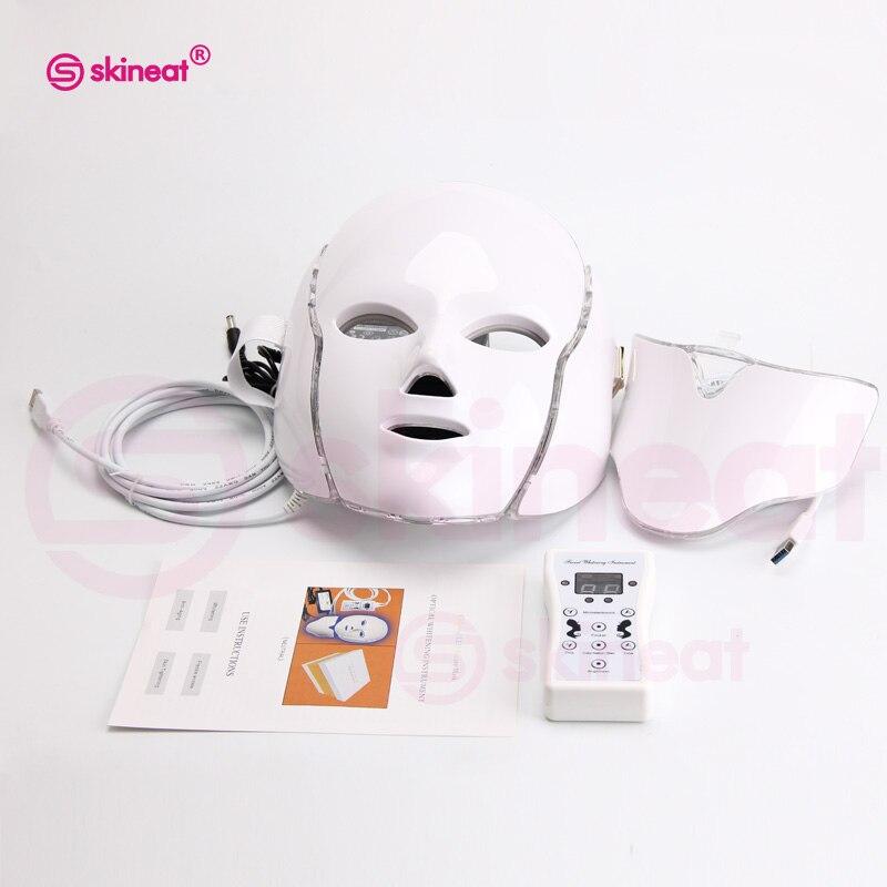 Skineat 7 couleur LED visage cou masque Anti-rides dispositif Anti-acné enlèvement beauté Spa dispositif rajeunissement de la peau blanc visage Masker