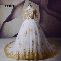 LORIE White Gold Wedding Dresses 2019 Long Sleeve Muslim Arabic Bridal Gown Lace Tulle O Neck Luxury Wedding Gown vestido novia