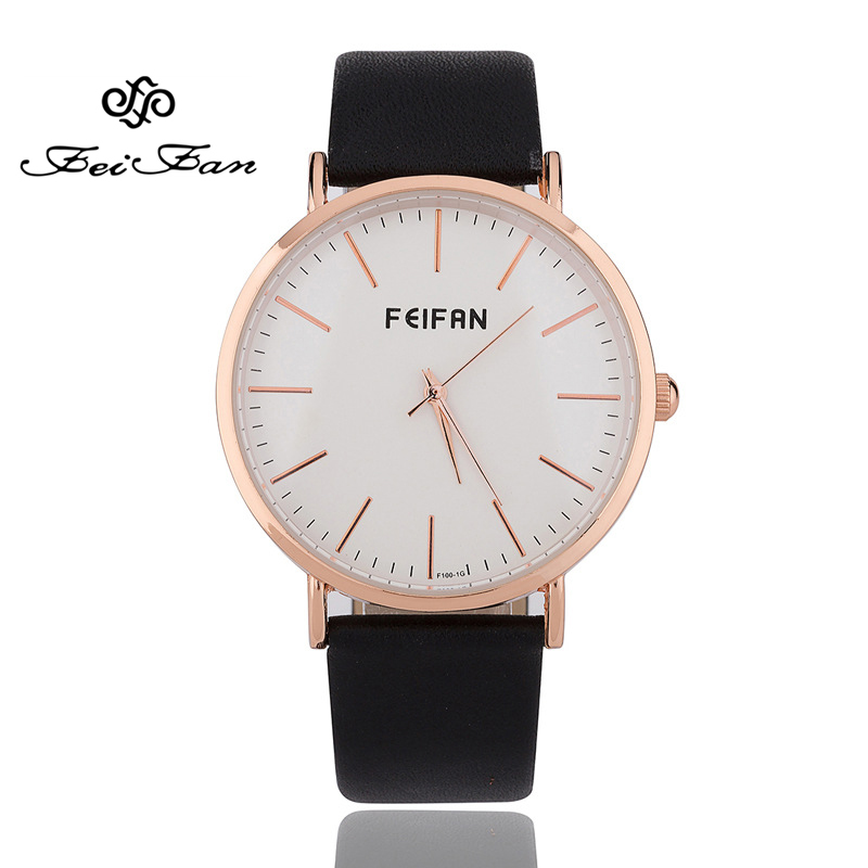 FEIFAN Luxury Brand Simple Watches for Men and Women Fashion Untral Thin Quartz Clock Leather Wristwatch Black Brown Watch reloj objective ielts intermediate student s book cd rom