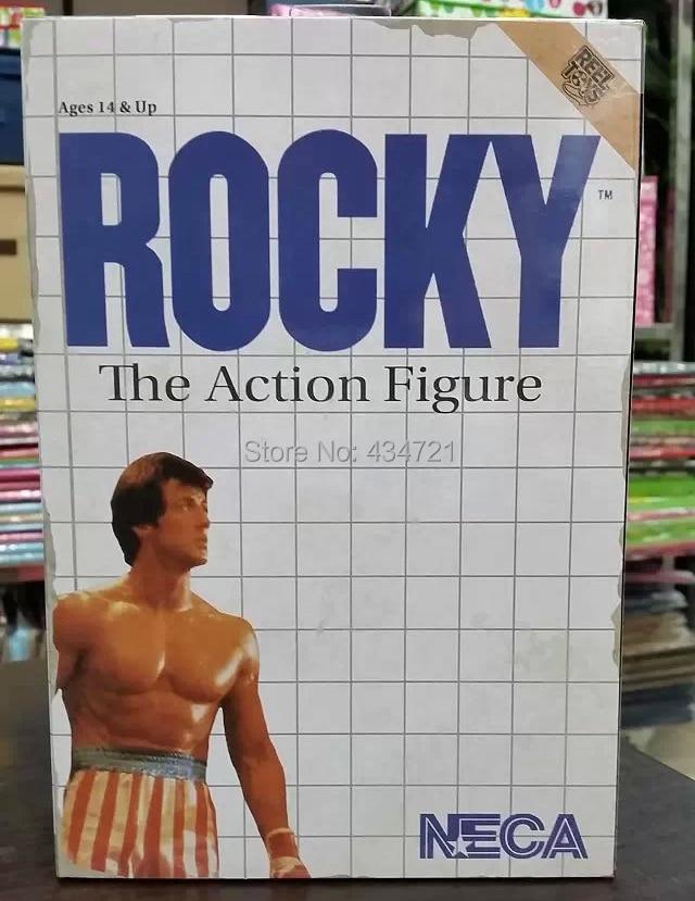 "Ny Hot Classic Sylvester Stallone Boxer Film 1976 Rocky Med Amerikanska National Flag NECA 7 ""Action Figure Toys Box"