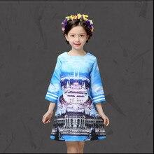 Girl Party Dress 2-14 Years Baby Girls Spring Winter Print Kids Dream Castle Pattern Princess Dress Children Christmas Costumes