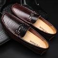 38-50 Zapatos de Los Hombres de Los Holgazanes de Cuero Genuino Cocodrilo Suave Hombres Zapatos Casual Slip On de La Vendimia Más El Tamaño Grande de Alta calidad