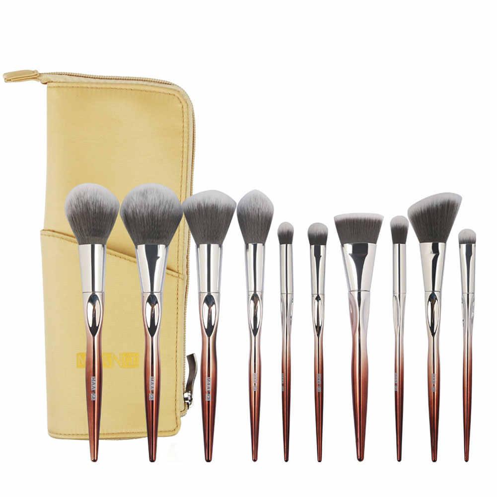 10 Pcs Contorno Fundação Blending Eyeshadow Makeup Brushes Set + Bolsa De Armazenamento de Maquiagem Ferramenta