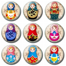 Russian Doll 30MM Fridge Magnet Cartoon Babushka Nesting Matryoshka Dolls Kids Gift Glass Magnetic Refrigerator Sticker Note 5pcs cute wooden dolls animal paint nesting babushka russian dolls children early education birthday matryoshka gift