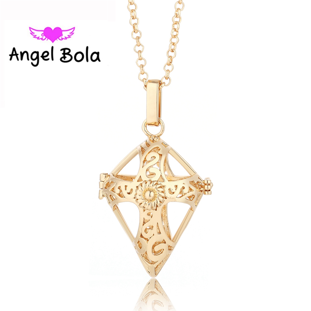 10PCS/lot 22.5mm Angel Bola Sound Ball Cross Engelsrufer Harmony Chime Cage Pendant In Chain Necklace for Women Jewelry L032