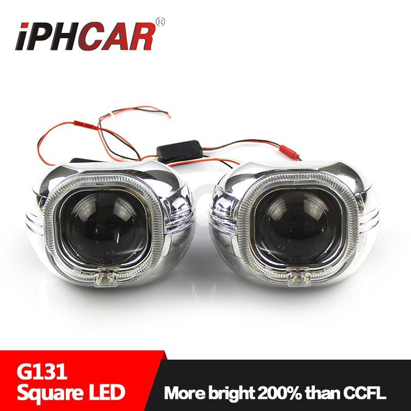 Livraison gratuite iphone car LHD/RHD HL H1 3.0 blanc carré ange yeux projecteur lentille H1 xénon ampoule H4 H7 phare