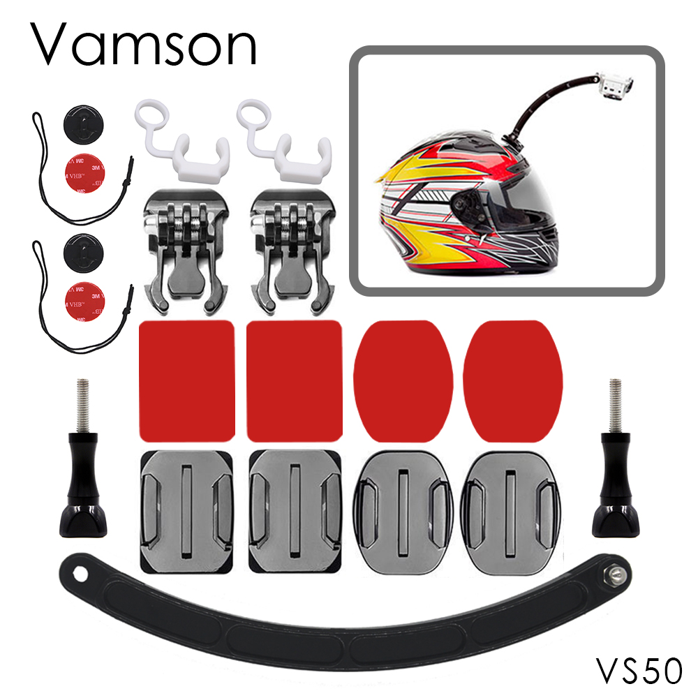 Vamson for GoPro Accessories Helmet Extension Arm Mount For Go pro Hero 4 3+ for Xiaomi for SJ4000 for yi Action Camera VS50 fat cat 360 rotation helmet mount w 3m vhb sticker for gopro hero 4 3 3 2 1 sj4000 black red