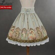 Soufflesong индивидуальная юбка с завышенной талией Mucha Милая юбка Лолиты с принтом для девочек