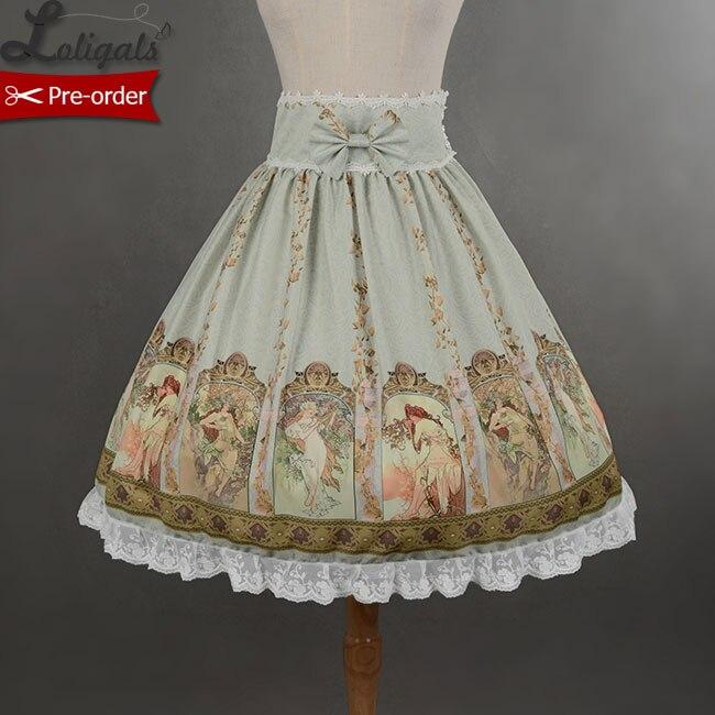 Soufflesong Custom Tailored Empire เอว Mucha กระโปรงหวานพิมพ์ Lolita กระโปรงสำหรับสาว-ใน กระโปรง จาก เสื้อผ้าสตรี บน   1