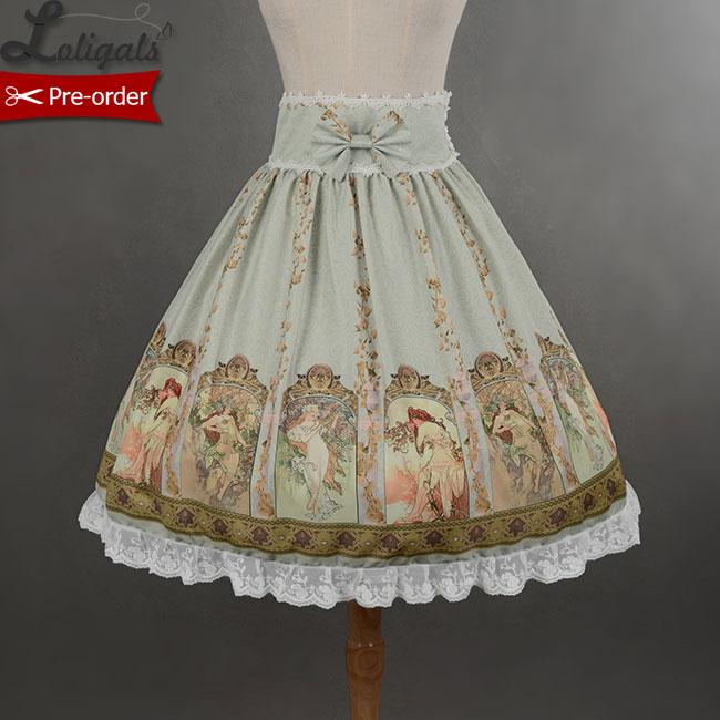 Soufflesong Custom Tailored Empire Waist Mucha Skirt Sweet Printed Lolita Skirt for Girl