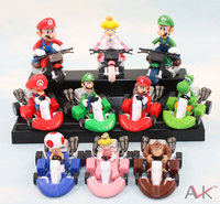 Super Mario Bros Kart tira Del Coche Del PVC Figura de Acción de Modelo Colección figuras Juguetes 10 unids/set 3-6 cm juguetes