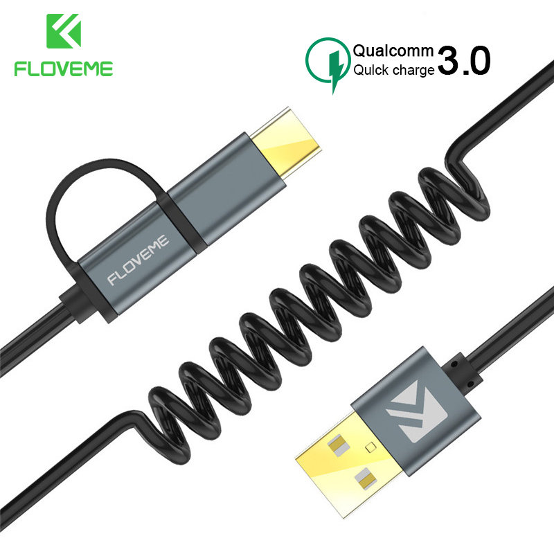 FLOVEME <font><b>2</b></font> in 1 Type C Micro USB Cable For Samsung Xiaomi Redmi Note 7 K20 Oneplus 7 Pro Retractable QC 3.0 Fast Charging Cable image