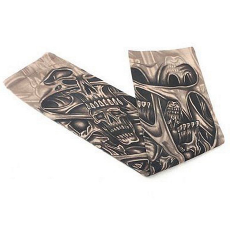 Fake Temporary Tattoo Sleeves Tattoos Full Long Slip On Arm Tattoo Sleeve Kit Men Elastic Nylon Glove Tattoos black skull design 2