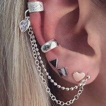 New Vintage Silver Color Stud Earrings Sets Heart Ear Cuff Clip Chain Jewelry For Women Geometric Shape Brincos Bijoux vintage rhinestoned solid color heart shape cuff ring for women