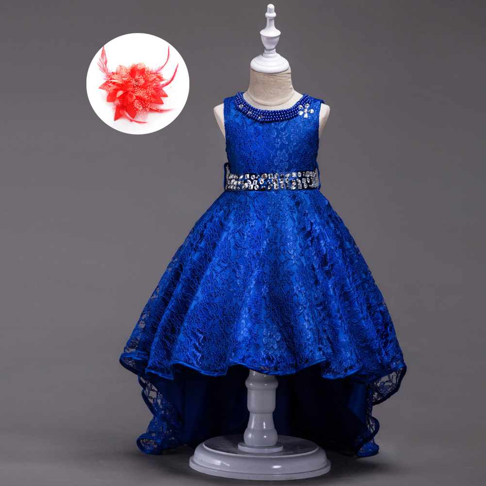 American Rhinestone Evening Gowns Children Beige Red Royal Blue Wedding Party Dresses for Girls Sleeveless Princess Kids Clothes цена