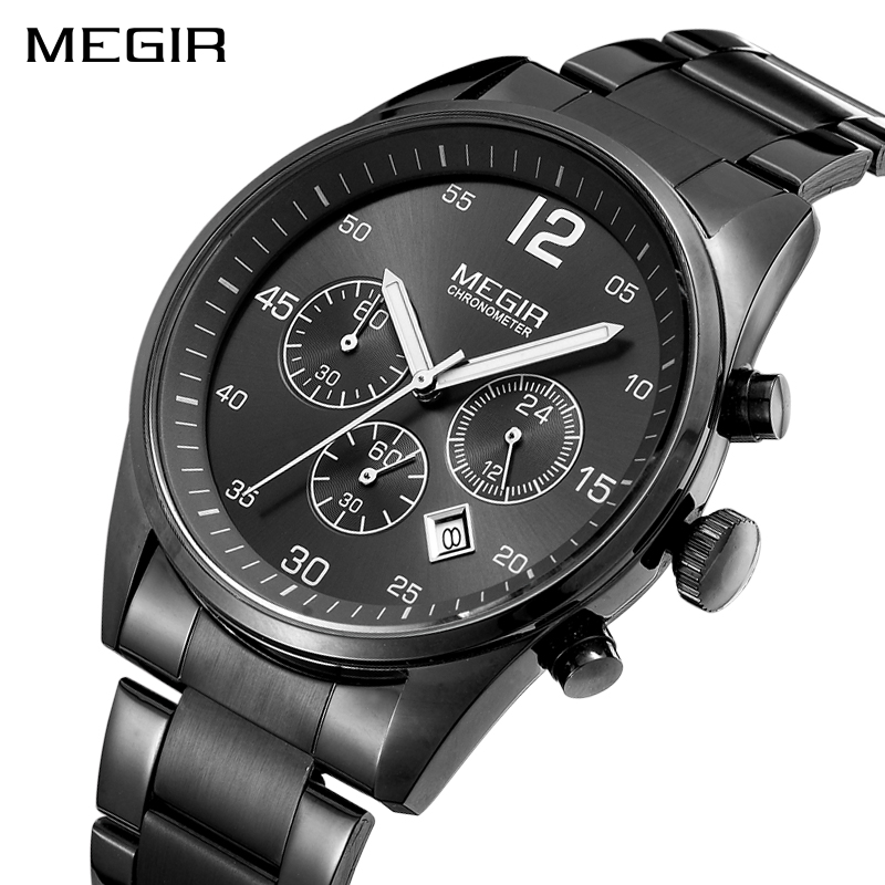 <font><b>MEGIR</b></font> Men Military Sports Wristwatches Luxury Top Brand Men's Quartz Watches Fashion Stainless Steel Watch Man Relogio Masculino image