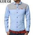 GUEQI Nuevos Hombres de la Moda Camisas de Algodón Más El Tamaño M-5XL Denim Patchwork Diseño Hombre Casual Camisas de Vestir