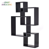 Bookshelf Intersecting Squares Floating Shelf Wall Mounted Home Decor bookcase home living room Furniture