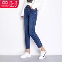 LEIJIJEANS New Autumn Dark Blue Color Plus Size L Bleached Cotton Denim Mid Waist Full Length Regular Boyfriend Jeans Women 7502
