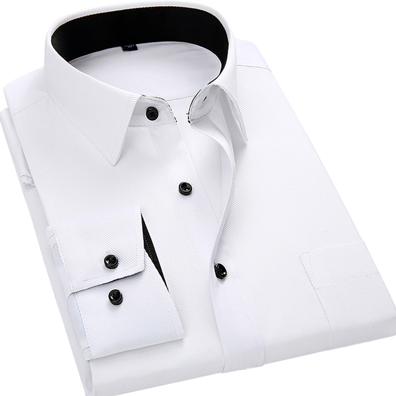 Männer langärmeliges hemd slim fit stil design einfarbig business - Herrenbekleidung - Foto 4