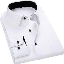 Men Long Sleeved Shirt Style Design Solid Color Slim Fit