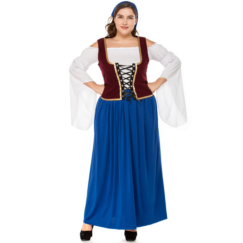 Free Shipping Big Size Blue scarf pirate costumes Woman Dress Halloween costume for Adult Pirate Costume Dress