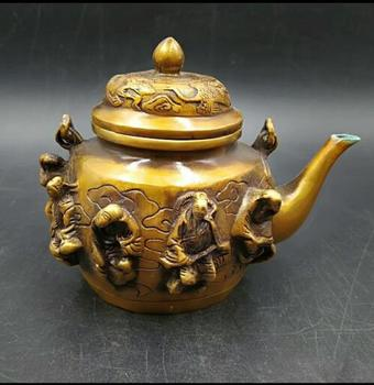 Retro copper carved gilt embossed   Eight immortals teapot ornaments hand pieces