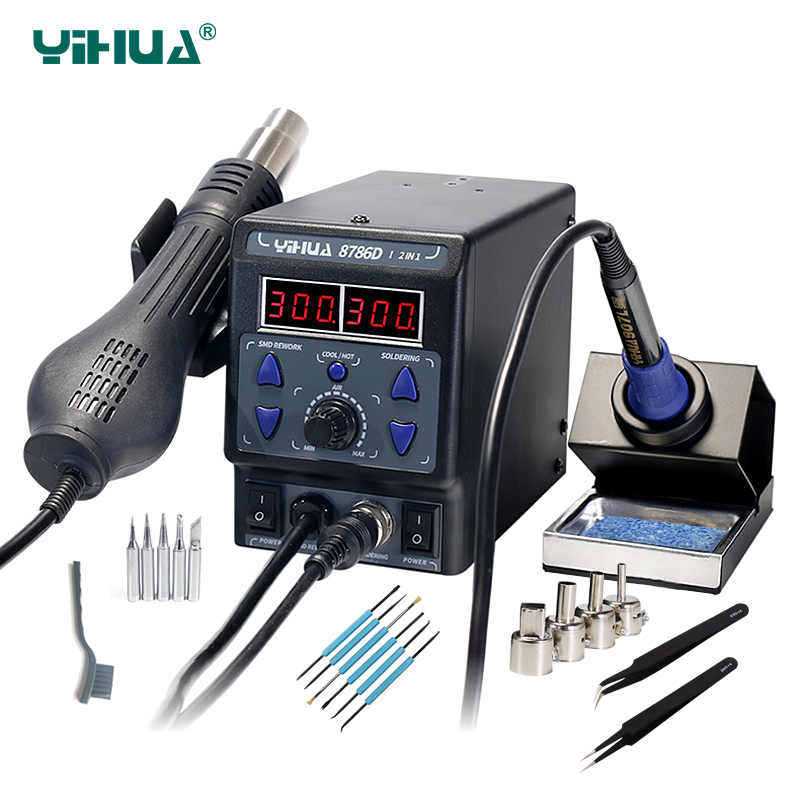 YIHUA 8786D New Upgrade Rework Soldering Station LED Display 2 in 1 SMD Soldering Iron Hot Air Gun 700W BGA Welding Tool Station wep 959d led display smd soldering station hot air gun rework station
