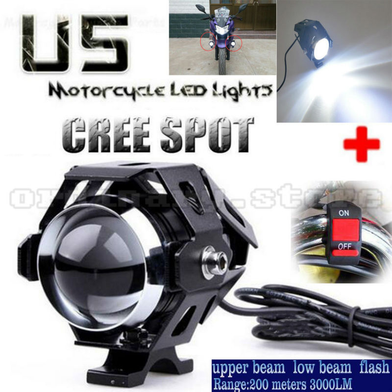 Super Bright 125W U5 LED Motorcycle Headlight Driving Fog Light DRL Electric Moto Spot Safety Head Lamp + Switch so k 4x p15d px15d t19 p15d 25 1 h6m 50w high power cree super bright motorcycle moto led headlight driving lamp drl white