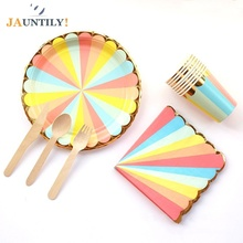 New Color Stripe Candy Phnom Penh Theme Party Decorations Disposable Paper Cups Plates Napkins Wooden knife and fork spoon