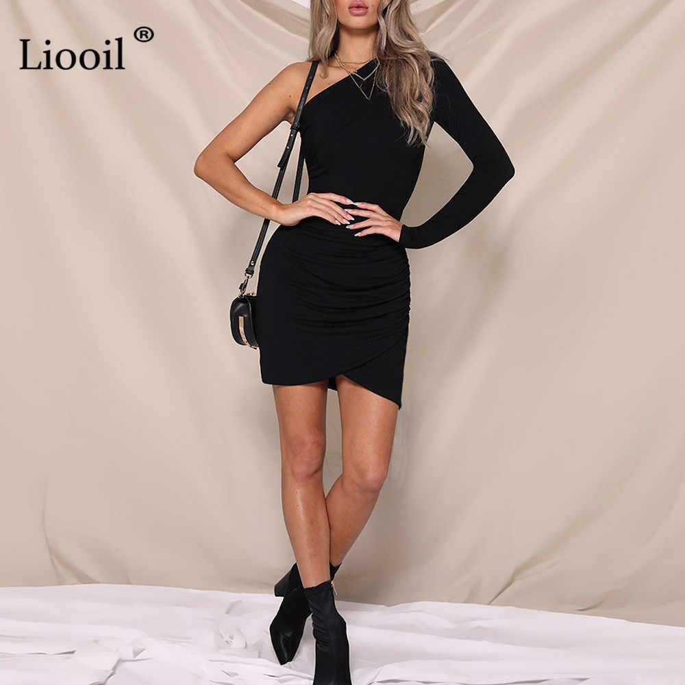 Liooil Sexy jedno sukienka na ramiona 2019 kobiet ubrania z długim rękawem czerwony czarny biały nieregularne Hem Bodycon Mini sukienki na przyjęcie urodzinowe